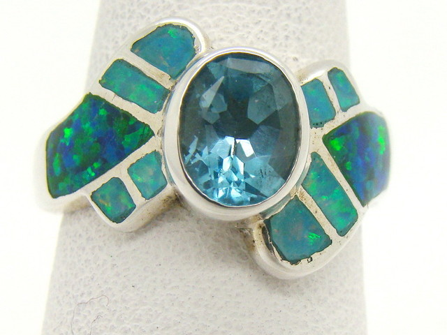 Sterling Silver Lab Opal Ring Size 7 (JA-369)