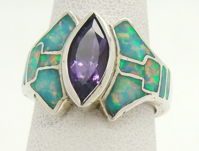 Sterling Silver Lab Opal Ring Size 6 (JA-370)