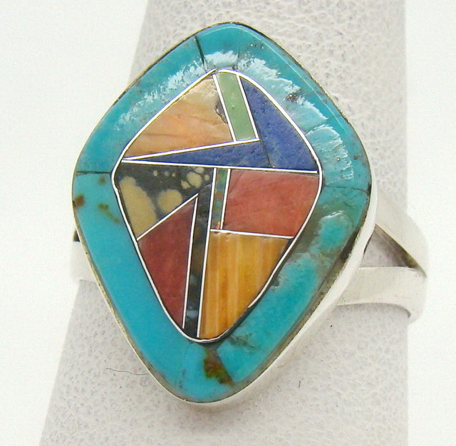 Sterling Silver Lab Opal Ring Size 8 (JA-372)