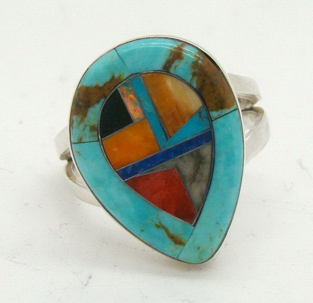 Sterling Silver Lab Opal Ring Size 6 1/2 (JA-371)