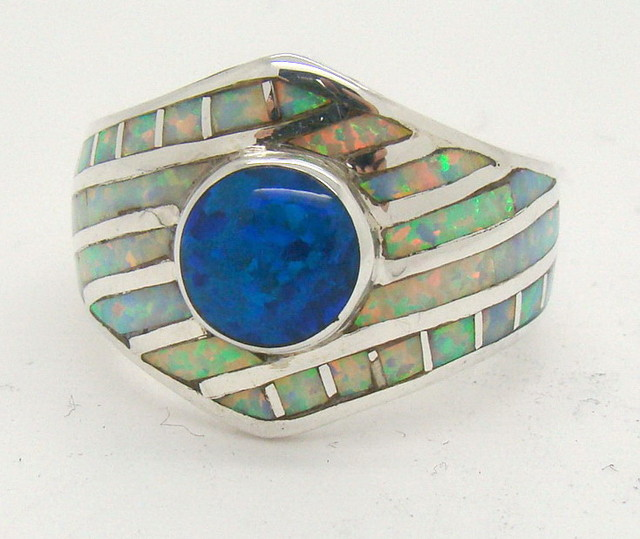 Sterling Silver Lab Opal Ring Size 7 1/4 (JA-373)