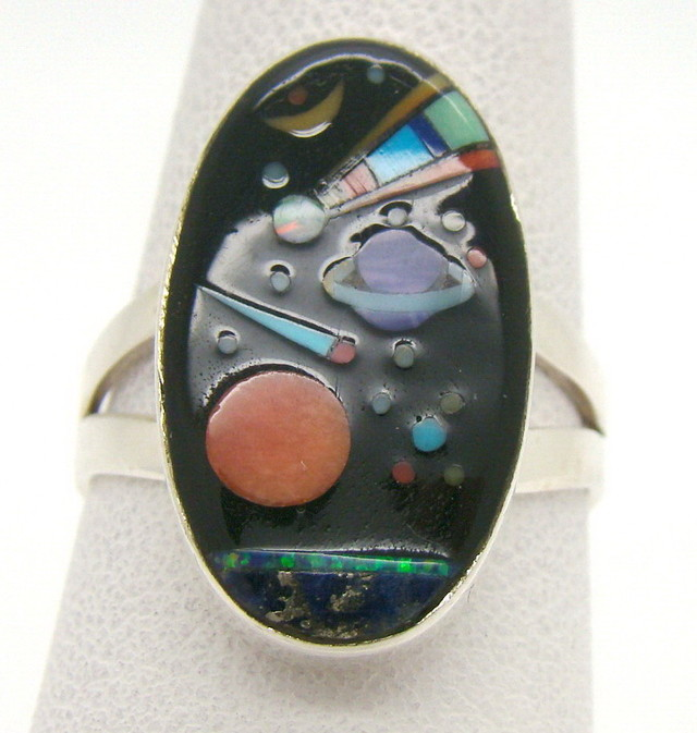 Sterling Silver Lab Opal Ring Size 8 (JA-374)