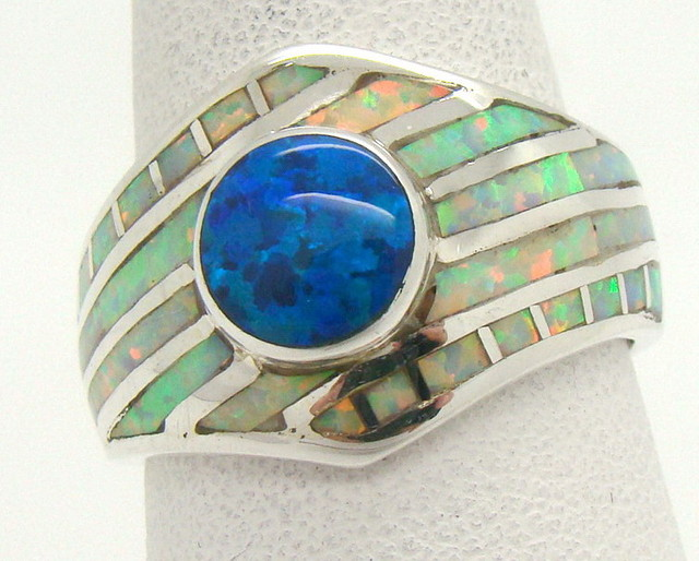 Sterling Silver Lab Opal Ring Size 7 3/4 (JA-375)