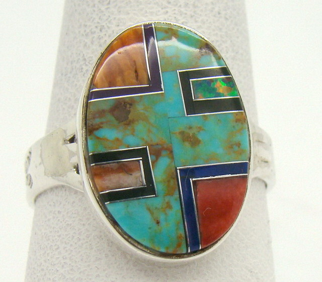 Sterling Silver Lab Opal Ring Size 10 (JA-376)