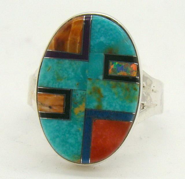 Sterling Silver Lab Opal Ring Size 6 3/4 (JA-377)