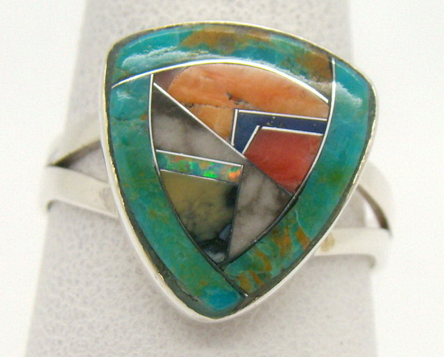 Sterling Silver Lab Opal Ring Size 9 (JA-378)