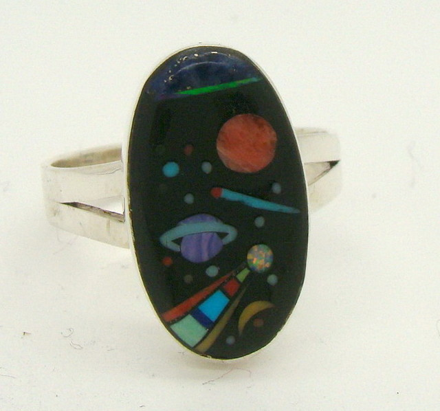 Sterling Silver Lab Opal Ring Size 10 1/4 (JA-380)