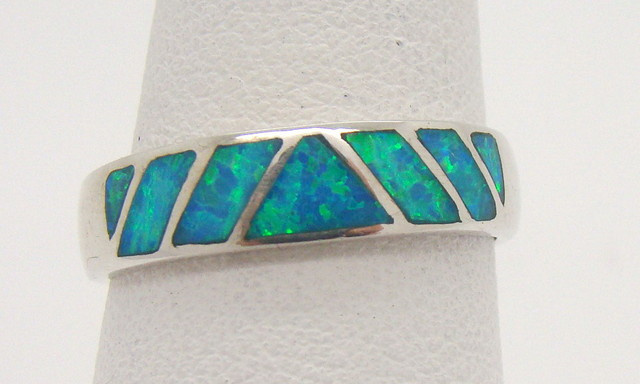 Sterling Silver Lab Opal Ring Size 7 3/4 (JA-381)