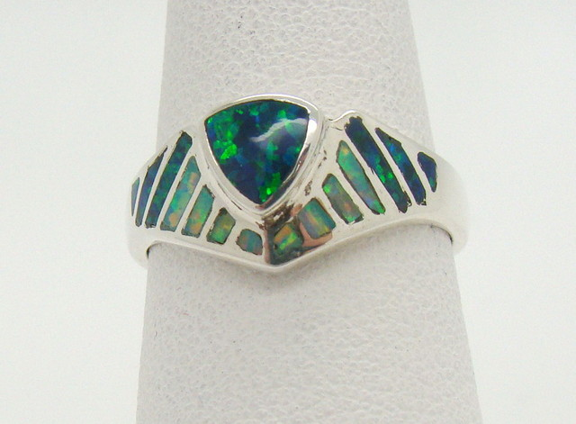 Sterling Silver Lab Opal Ring Size 6 1/2 (JA-384)