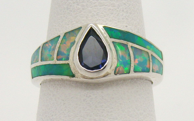 Sterling Silver Lab Opal Ring Size 7 1/4 (JA-385)