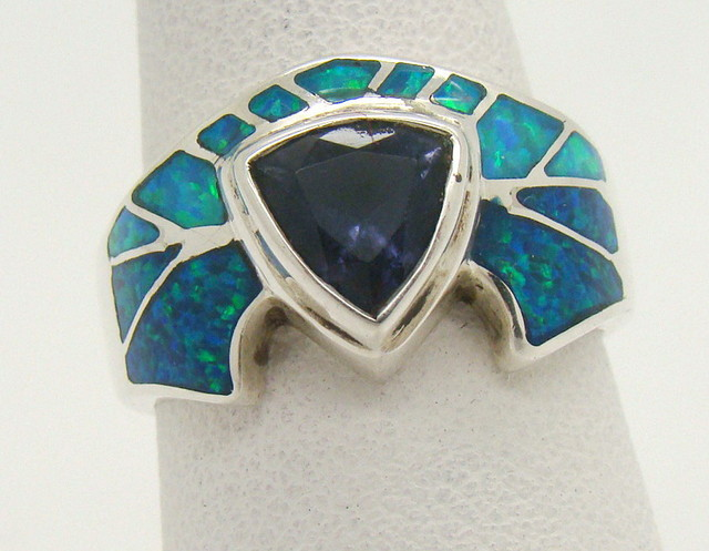 Sterling Silver Lab Opal Ring Size 6 1/2 (JA-386)