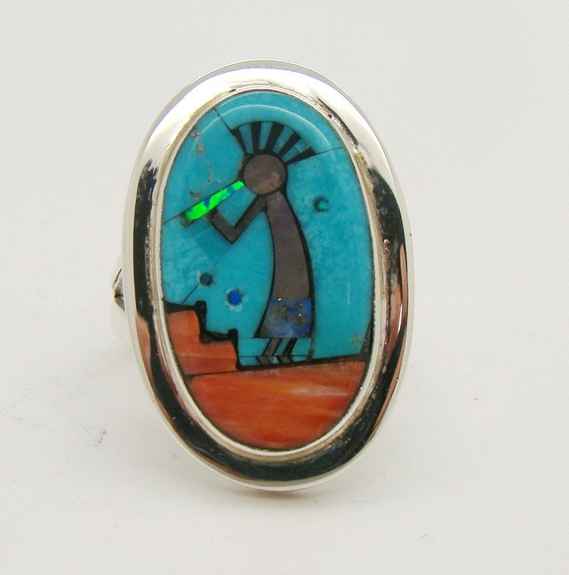 Sterling Silver Lab Opal Ring Size 8 1/2 (JA-387)