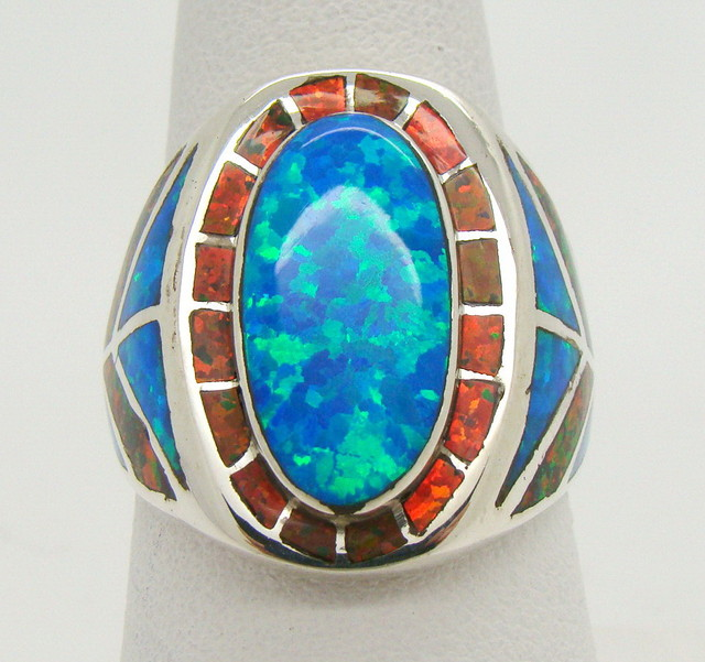 Sterling Silver Lab Opal Ring Size 10 (JA-388)