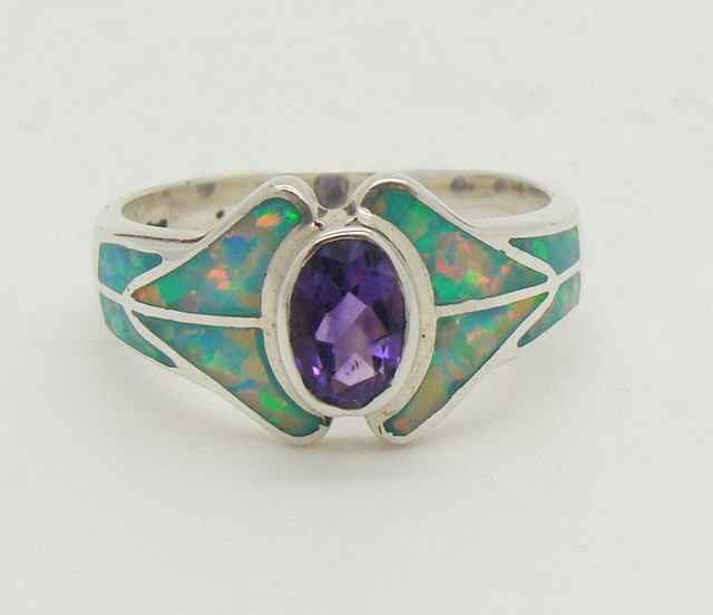 Sterling Silver Lab Opal Ring Size 7 1/4 (JA-389)