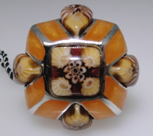 Unique designer ring Murano glass with sterling trim, USA 6
