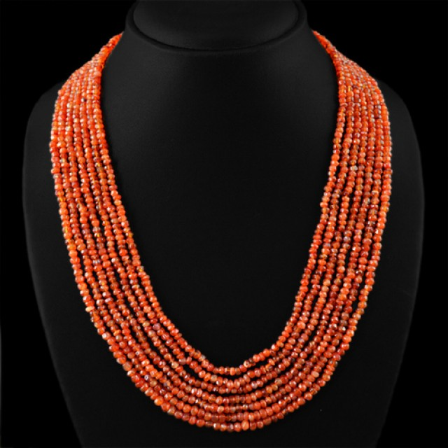 Genuine 299.10 cts Orange Carnelian 7 Line Faceted Beads Necklace