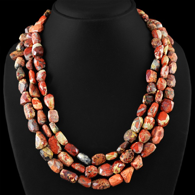 Genuine 970.00 Cts 3 Line Mookaite Faceted Beads Necklace