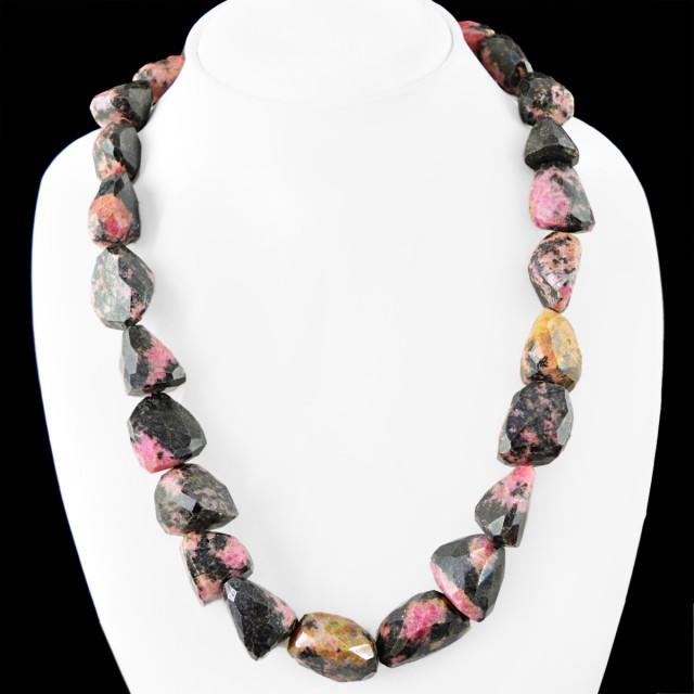 Genuine 1095.00 Cts Pink Rhodonite Faceted Beads Necklace