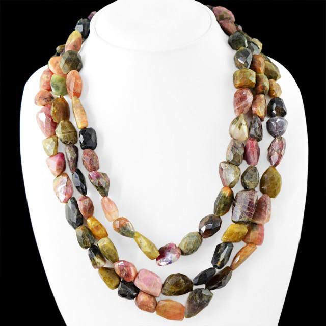 Genuine 1175.00 Cts 3 Line Watermelon Tourmaline Beads Necklace