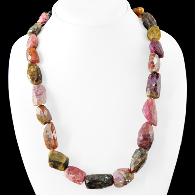 Genuine 725.00 Cts Faceted Watermeloan Tourmaline Beads Necklace