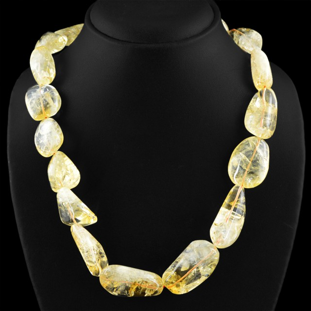 Genuine 825.00 Cts Untreated Yellow Citrine Beads Necklace
