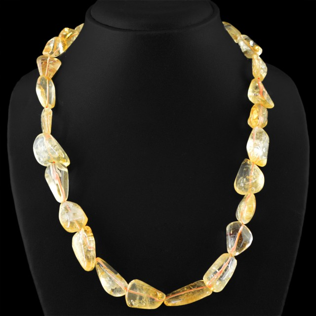 Genuine 500.00 Cts Untreated Yellow Citrine Beads Necklace