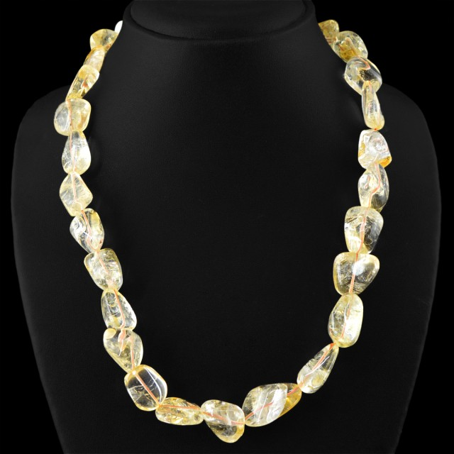 Genuine 545.00 Cts Untreated Yellow Citrine Beads Necklace
