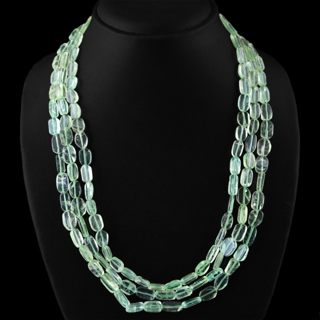 Genuine 445.00 Cts 3 Line Green Flourite Beads Necklace