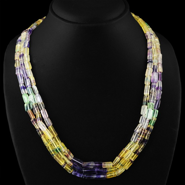 Genuine 420.00 Cts 3 Line Multicolor Flourite Beads Necklace