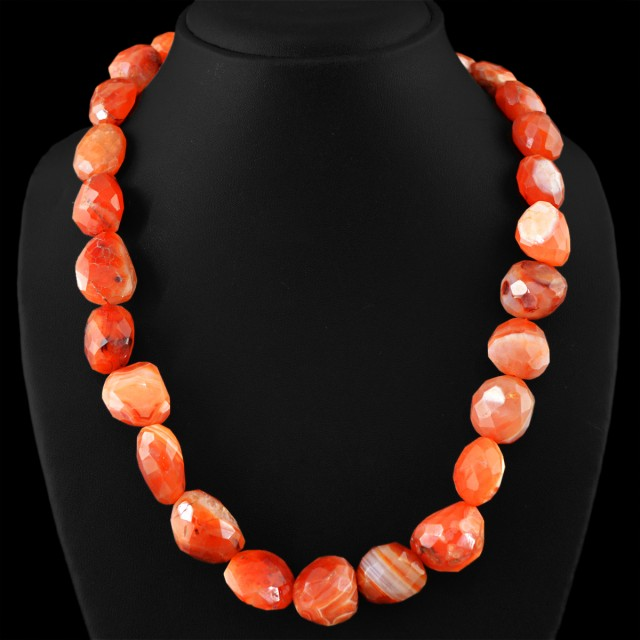 Genuine 750.00 Cts Untreated Orange Agate Beads Necklace