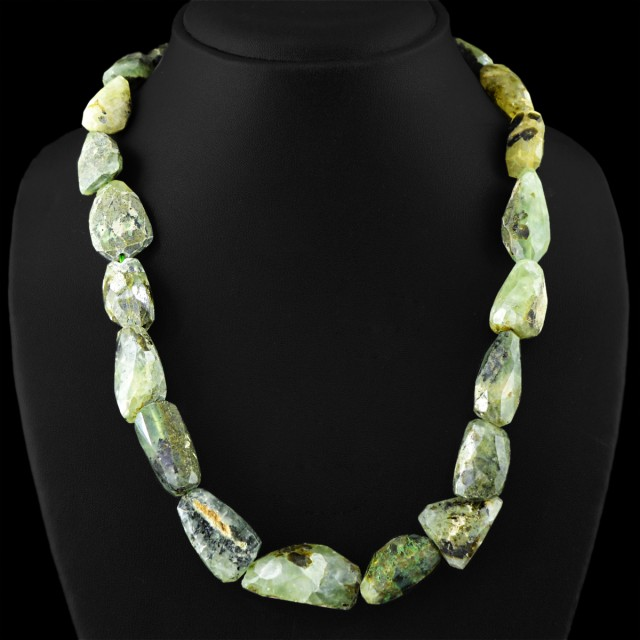 Genuine 635.00 Cts Untreated Green Phrenite Beads Necklace