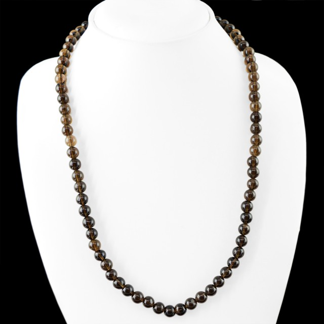 Genuine 205.00 Cts Untreated Smoky Quartz Beads Necklace