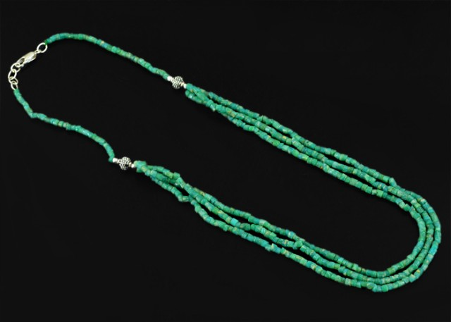 Natural 137.80 Cts Green Ammazonite Beads Necklace