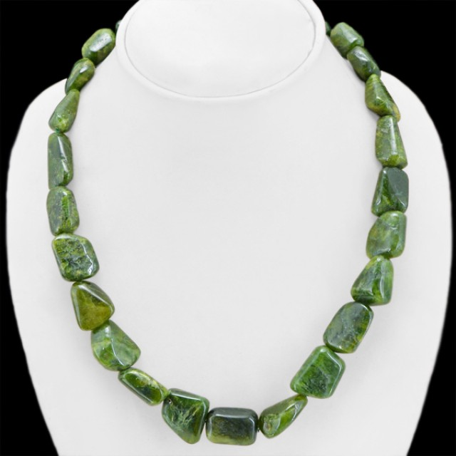 Natural 662.00 Cts Untreated Green Garnet Beads Necklace