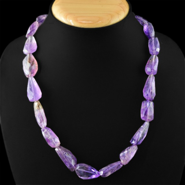 Exclusive Purple Ametrine 355.00 Cts Faceted Beads Necklace