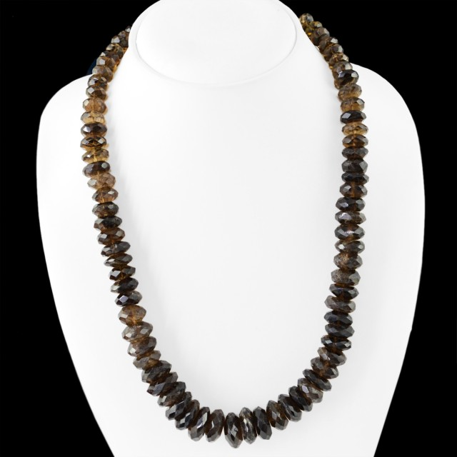 Natural 595.00 Cts Black Smoky Quartz Faceted Beads Necklace