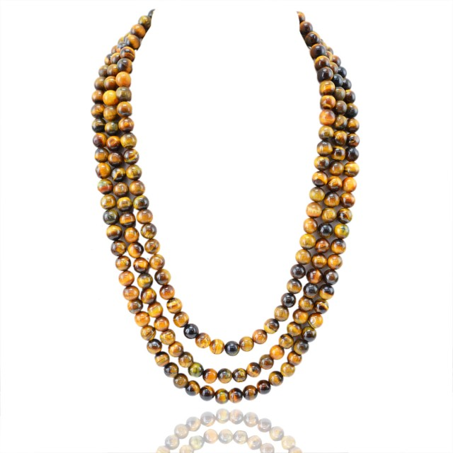 Natural 859.70 Cts 3 Line Golden Tiger Eye Round Beads Necklace