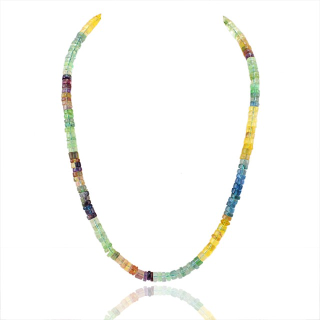 Natural 240.00 Cts Multicolor Flourite Round Beads Necklace