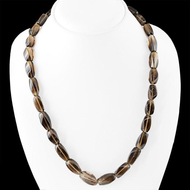 Natural 330.00 Cts Smoky Quartz Beads Necklace