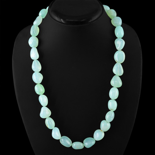 Natural 605.00 Cts Green Chalcedony Beads Necklace