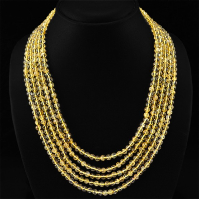 Natural 443.50 Cts 5 Line Yellow Citrine Round Beads Necklace