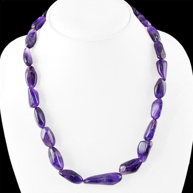 Natural 325.00 Cts Purple Amethyst Beads Necklace
