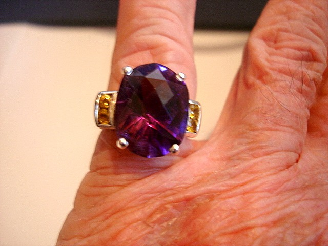 Amethyst Large Oval cut set in Solid Silver Ring