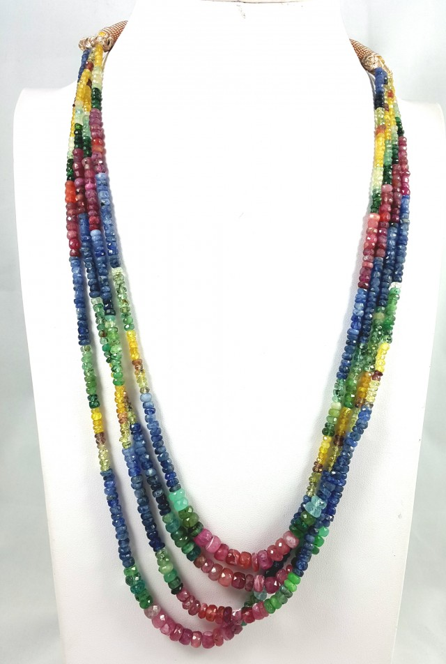 327 CT 4 LINE RUBY , EMERALD , SAPPHIRE FACETED BEADS NEACKLACE 4X4X3MM