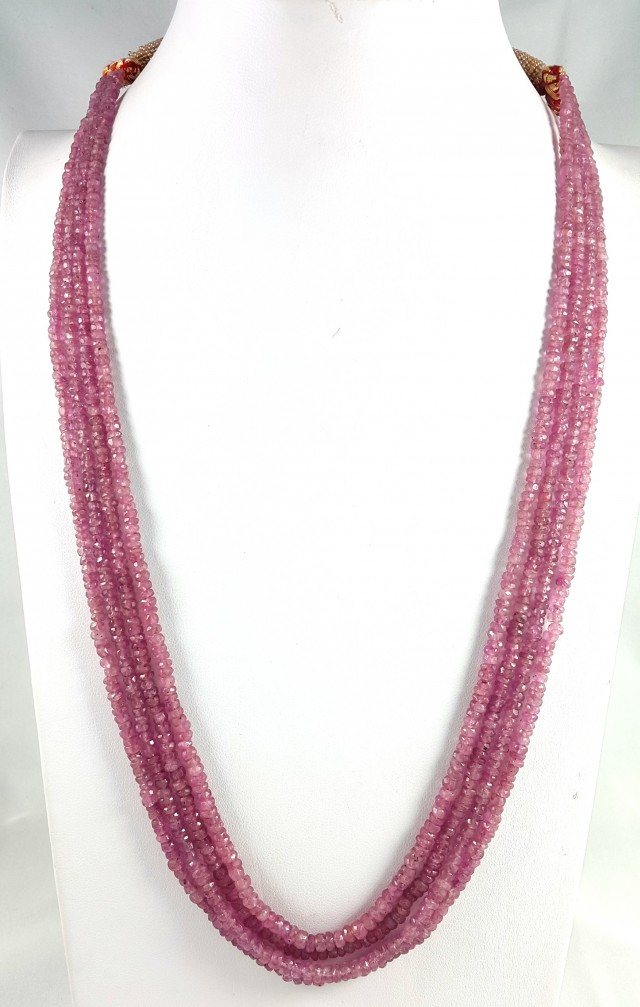 290 CT 4 LINE PINK SAPPHIRE FACETED BEADS NECKLACE 3X3X3MM