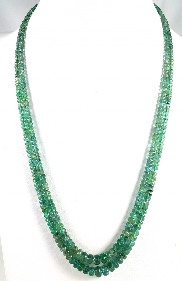 160 CT 2 LINE EMERALD FACETED BEADS NECKLACE 4.5X4.5X4.5MM