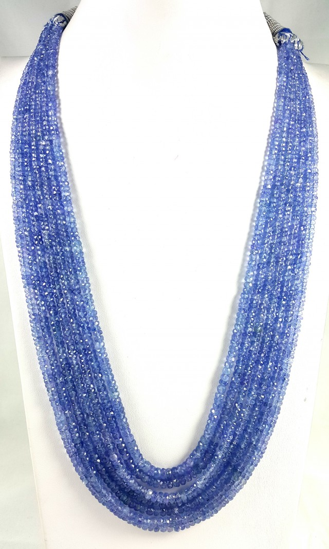 495 CT 7 LINE TANZANITE FACETED BEADS NECKLACE 3X3X2MM