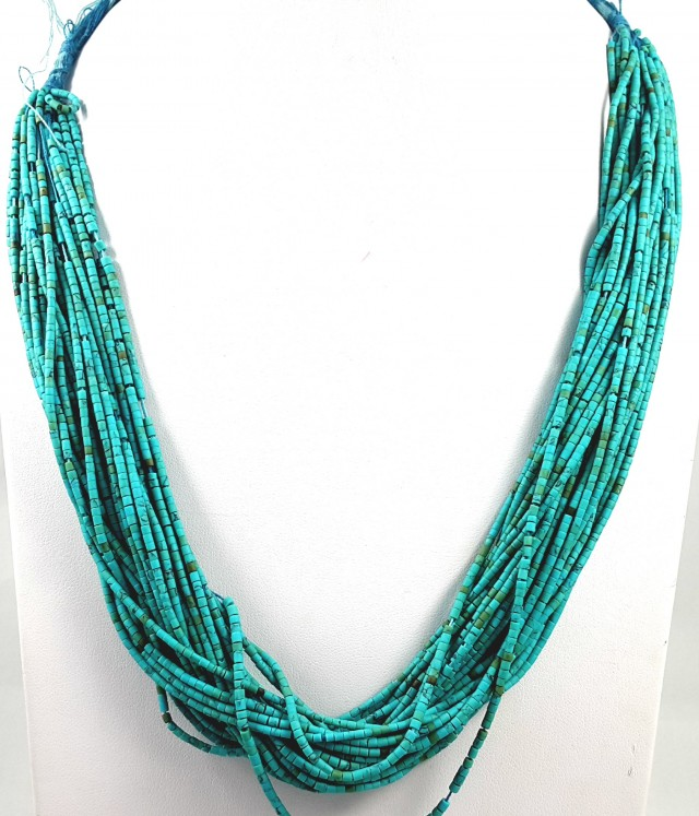 237 CT 30 LINES TURQUOISE TOP QUALITY NECKLACE 1.5X1.5X1.5MM