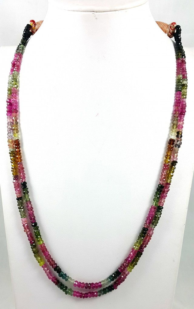 169 CT 2 LINE TOURMALINE TOP QUALITY FACETED BEADS NECKLACE 4X4X2MM