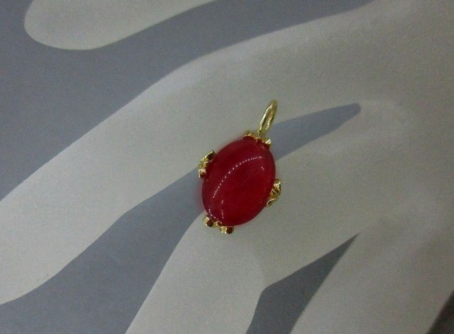 14 K yellow gold pendant with natural ruby of 4.12 ct.